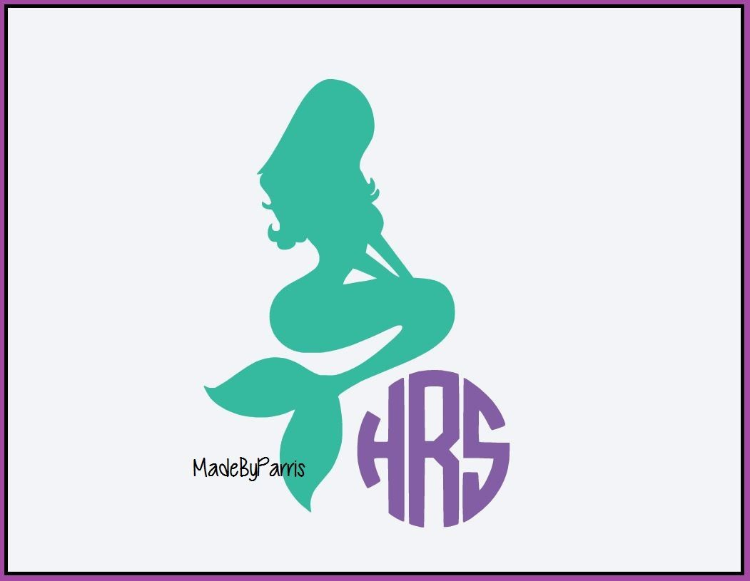 Mermaid Monogram Decal Beach Decal Mermaid Decal Monogram Decal - Mermaid custom vinyl decals for car