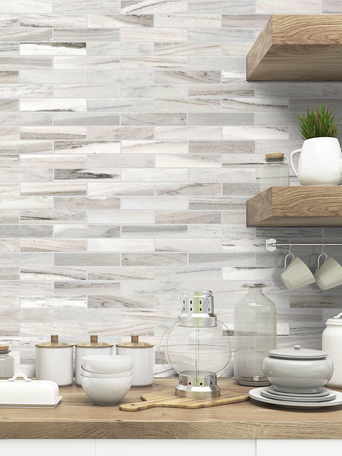 Modern White Gray Subway Marble Backsplash Tile Kitchen Tiles Backsplash Kitchen Backsplash Designs White Tile Backsplash