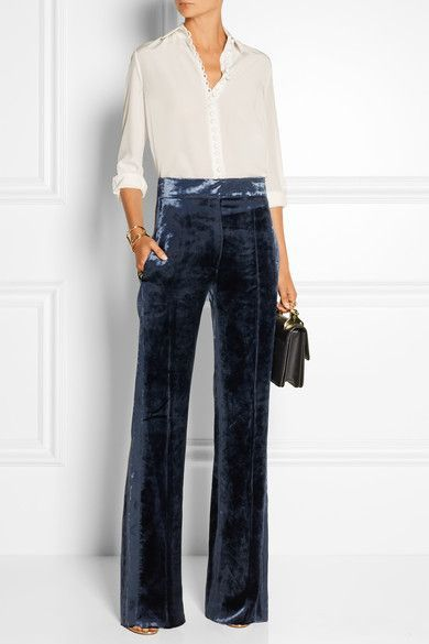 56726b53dd Velvet wide-leg pants | style | Velvet fashion, Fashion, Outfits