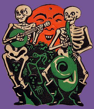 1920s Skeleton Rag Band Vintage Halloween Decoration