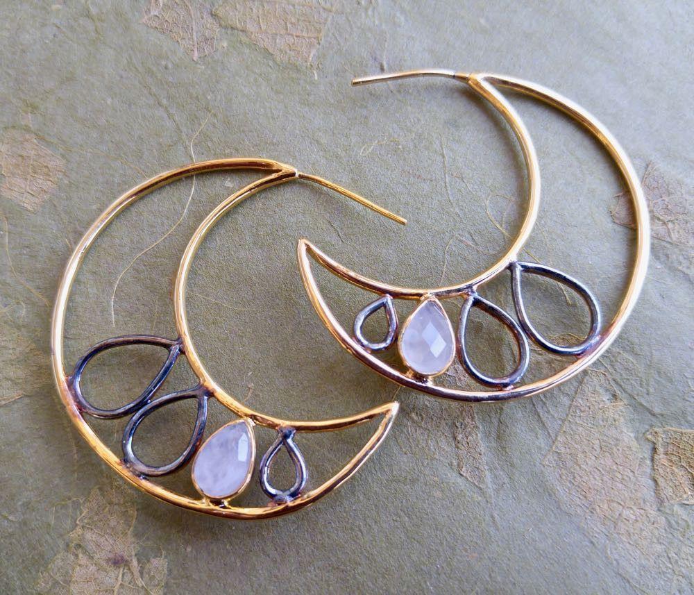 Rose Quartz Crescent Hoop Earrings