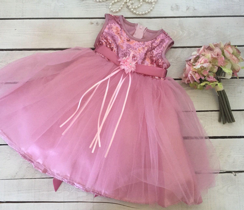 Mauve Rose Shimmery Flower Girl Dress - Perfect Ballerina Princess ...