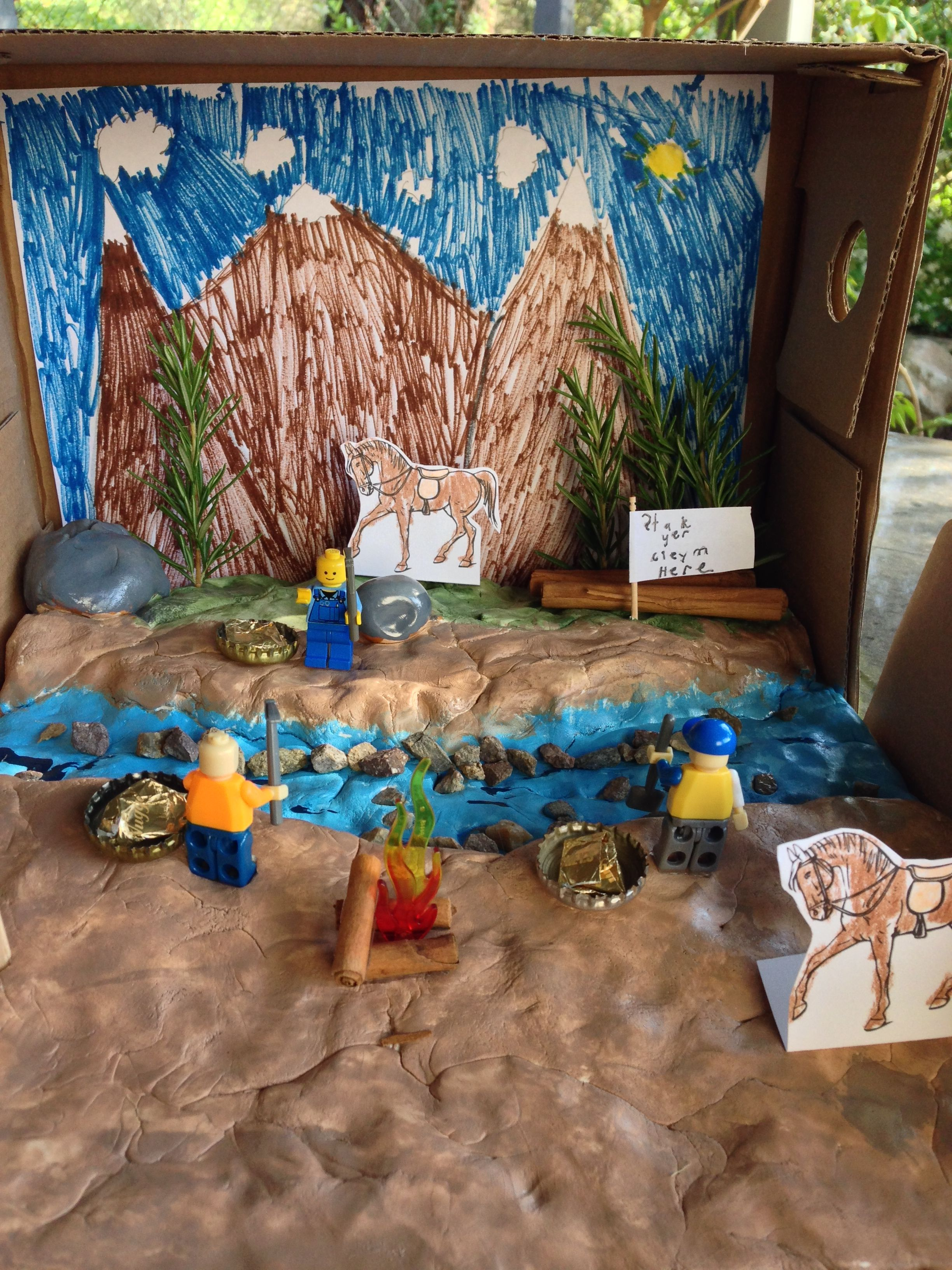 Kids Diorama With Details: Jake's 4th Grade Diorama Depicting The California Gold