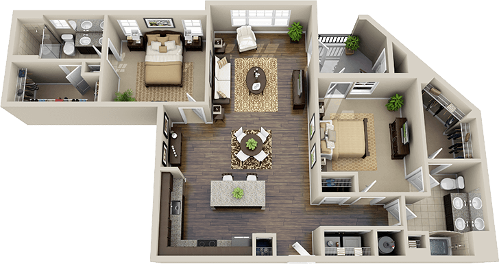Bedroom Apartment Floor Plans 3d On Apartments With Two Bedrooms 2 Apartment Floor Plans Floor Plans House Layouts