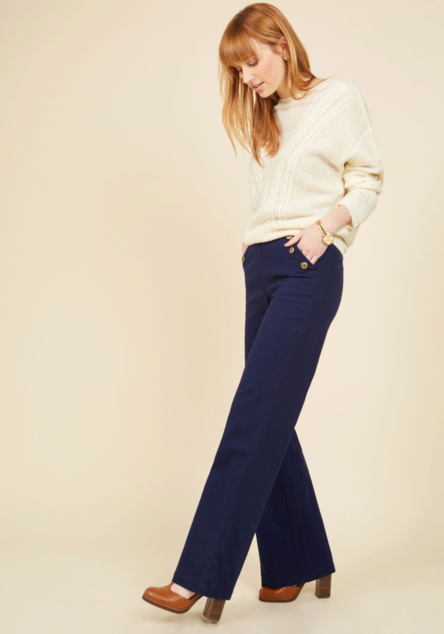 Port Your Heart Out Pants. Your appreciation for these navy bell bottoms isn't just a passing phase. #blue #modcloth