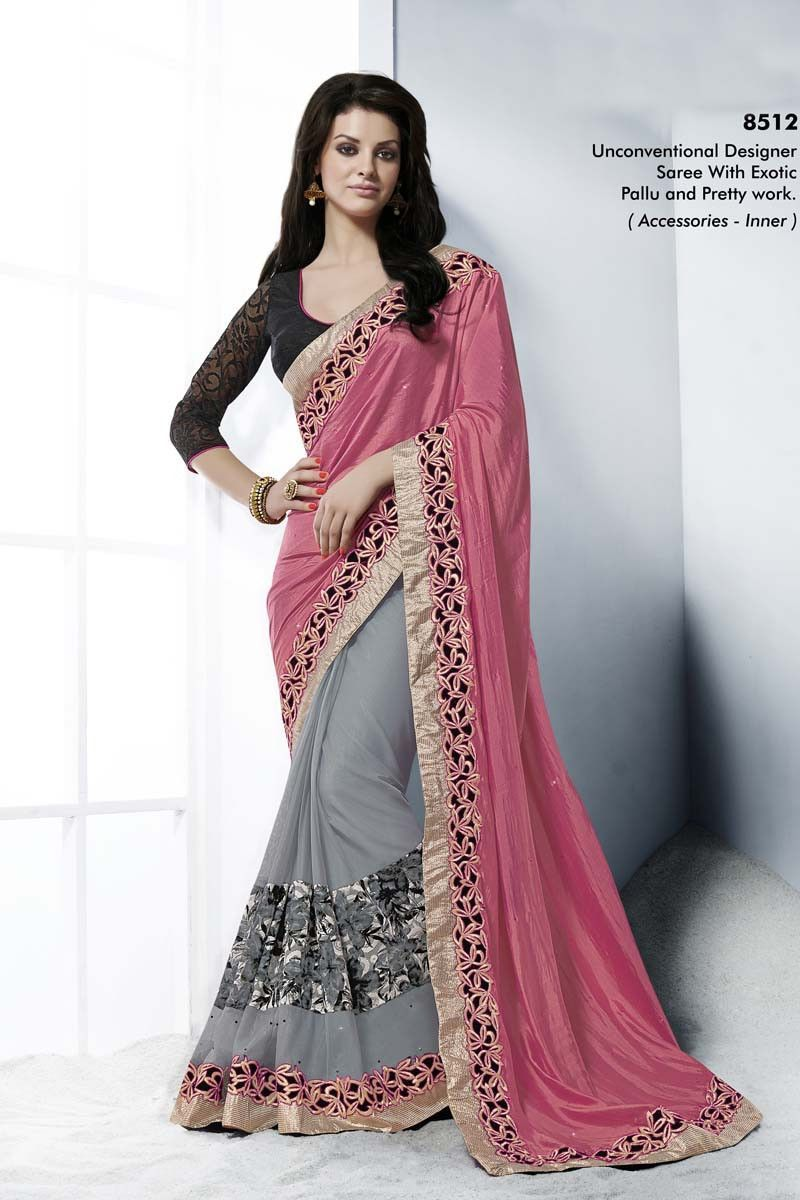 Silk saree lehenga pink shimmer party wear saree  my kinda girl  pinterest  party