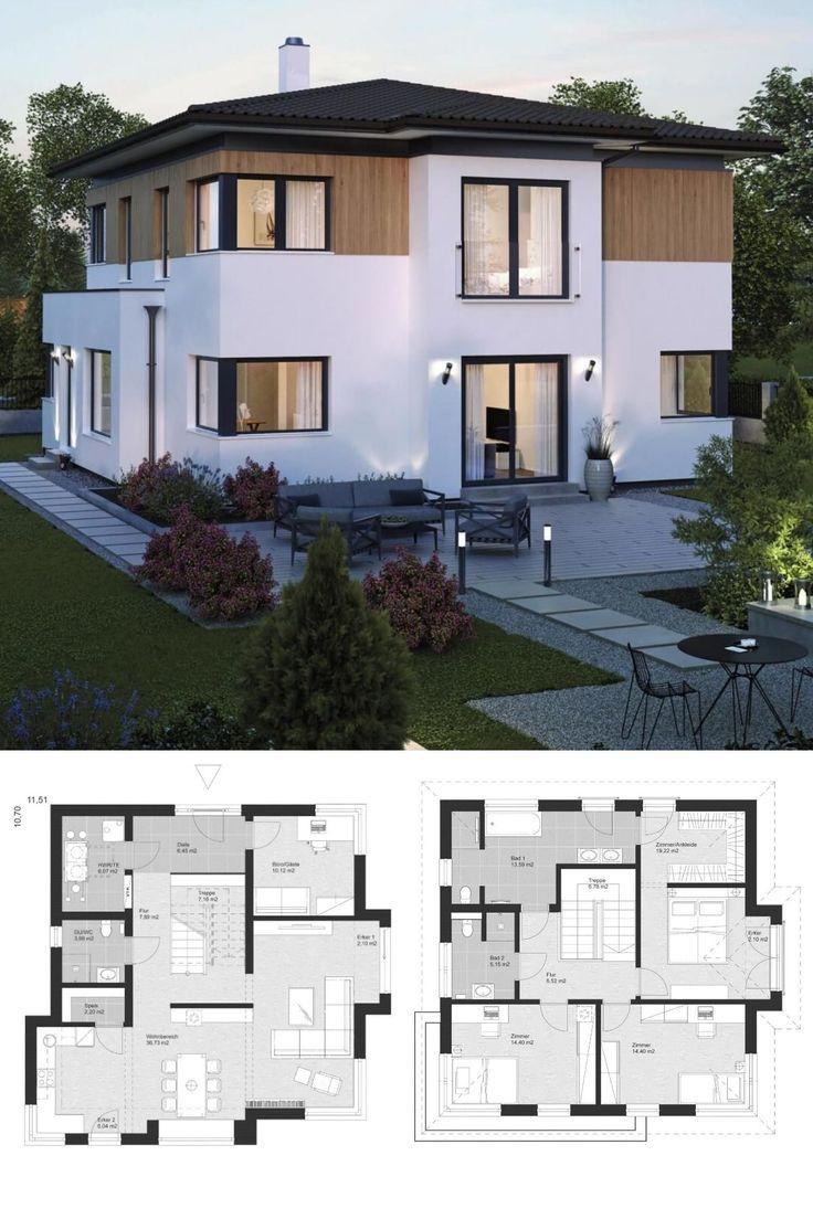Stadtvilla im modernen Landhausstil mit Holzfassade, Erkererweiterung & Walmdachbogen …