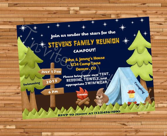 Cute Camping Family Reunion Invite Printable Family Reunion - invitations for family reunion