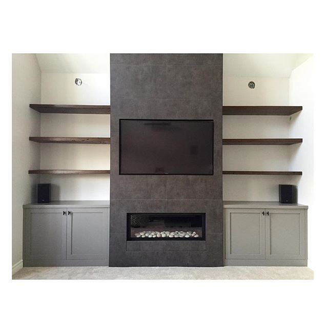 Linear Fireplace With Old Style Mantel And Built In