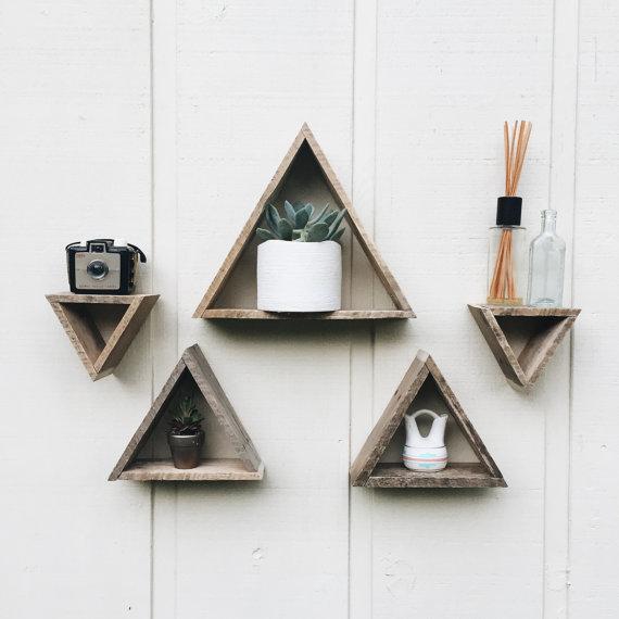5 Mini Triangle Shelves Triangle Shelf Reclaimed Wood Pallet