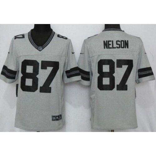 Men's Green Bay Packers #87 Jordy Nelson Gray Gridiron II ...