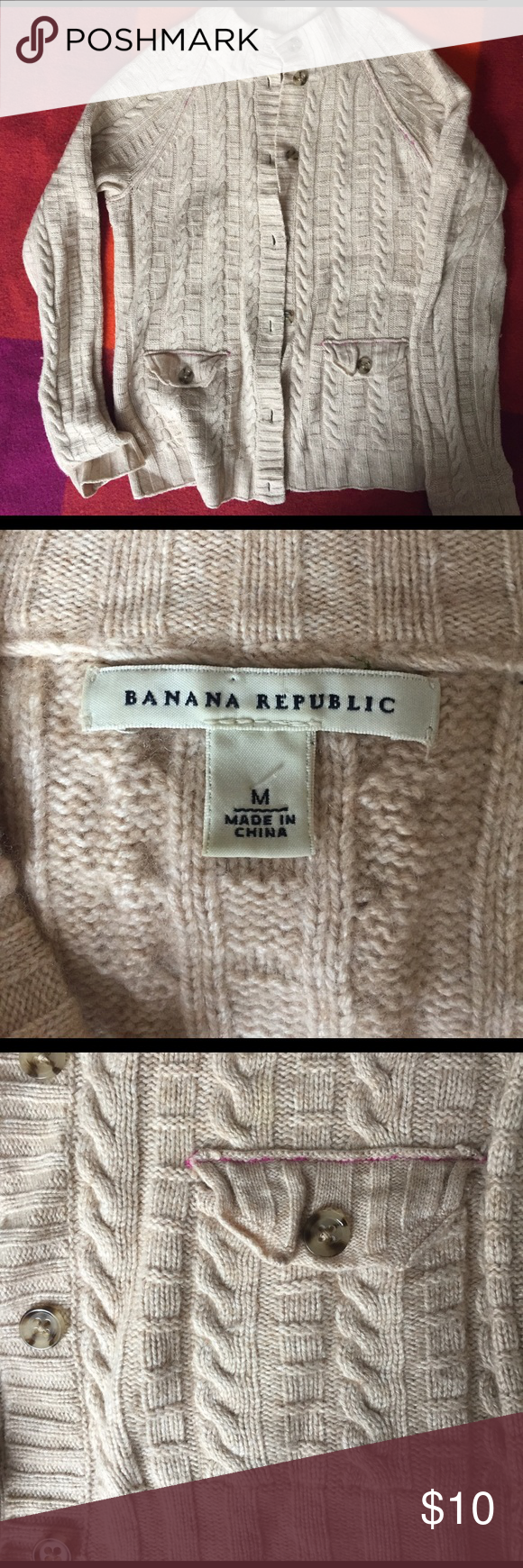 BR Tan Cable Knit Cardi Super soft, lambswool/cashmere blend mock neck cardi, minor piling, no stains/holes. Banana Republic Sweaters Cardigans