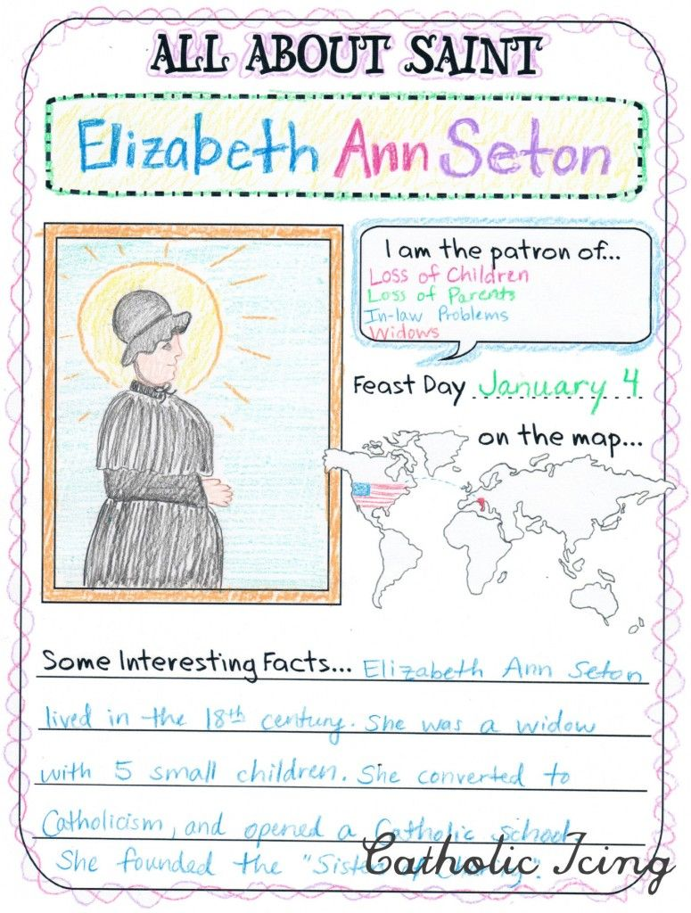 Mini Saint Information Fill-in Page for Children (Catholic Icing)