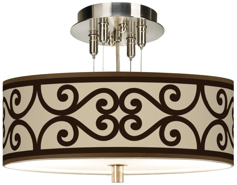"""Cambria Scroll Giclee 14"""" Wide Ceiling Light -"""