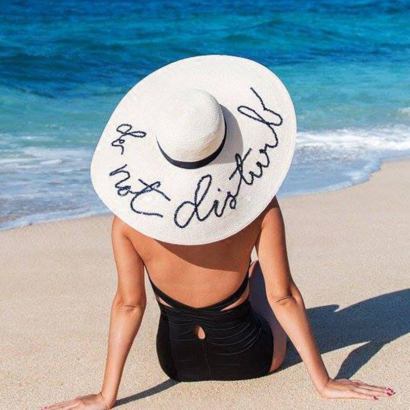 GGOMU New summer do not disturb Sequin letter wide brim sun hats for women Beach  vacation fashion girls straw hat ZLH-004 443bbaddd07b