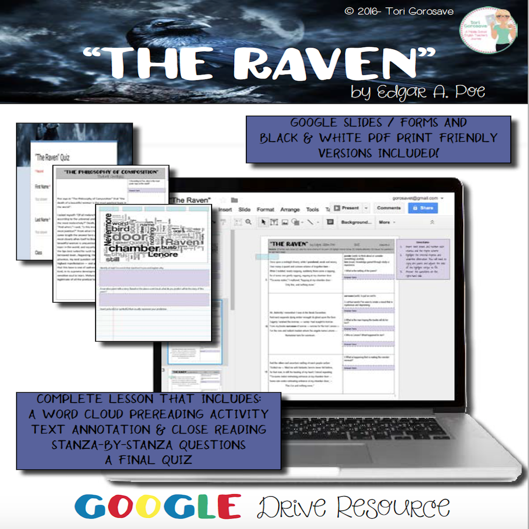Thi I A Complete Lesson For Edgar Poe S Haunting Narrative The Raven Resource Include Poetry Google Drive Cloud Activities Poem Annotated