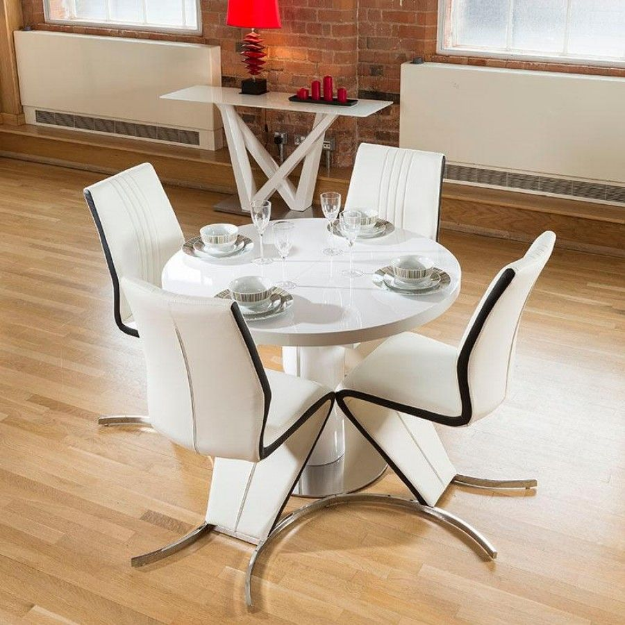 Dining Set White Gloss Round 1.3 - 1.05 Extending Table + 4 Z Chair ...