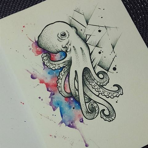 Uncolored Octopus With Geometric And Watercolor Elements Tattoo
