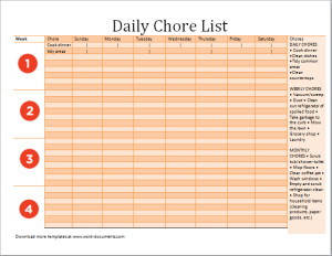 Daily Chore List Template At WordDocumentsCom  Microsoft