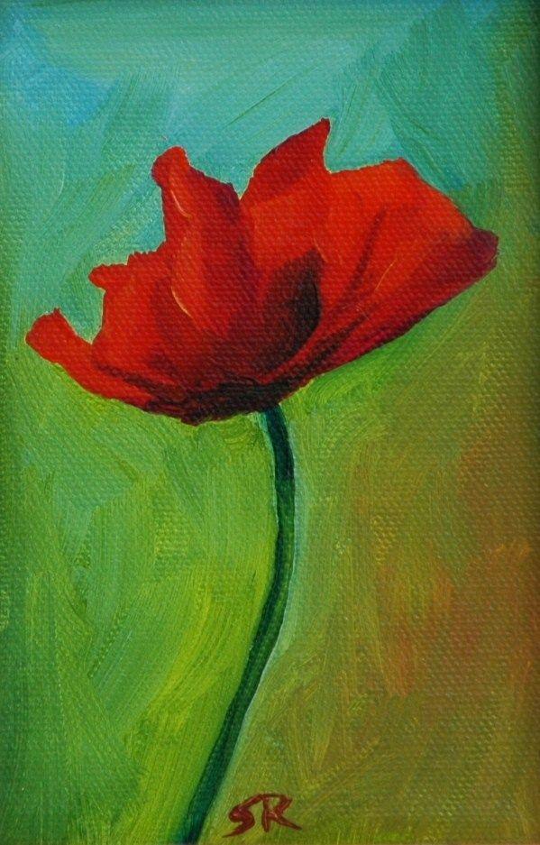 Sherry Russo Art Detail Poppy Oil On Canvas Poppy Art Flower Art