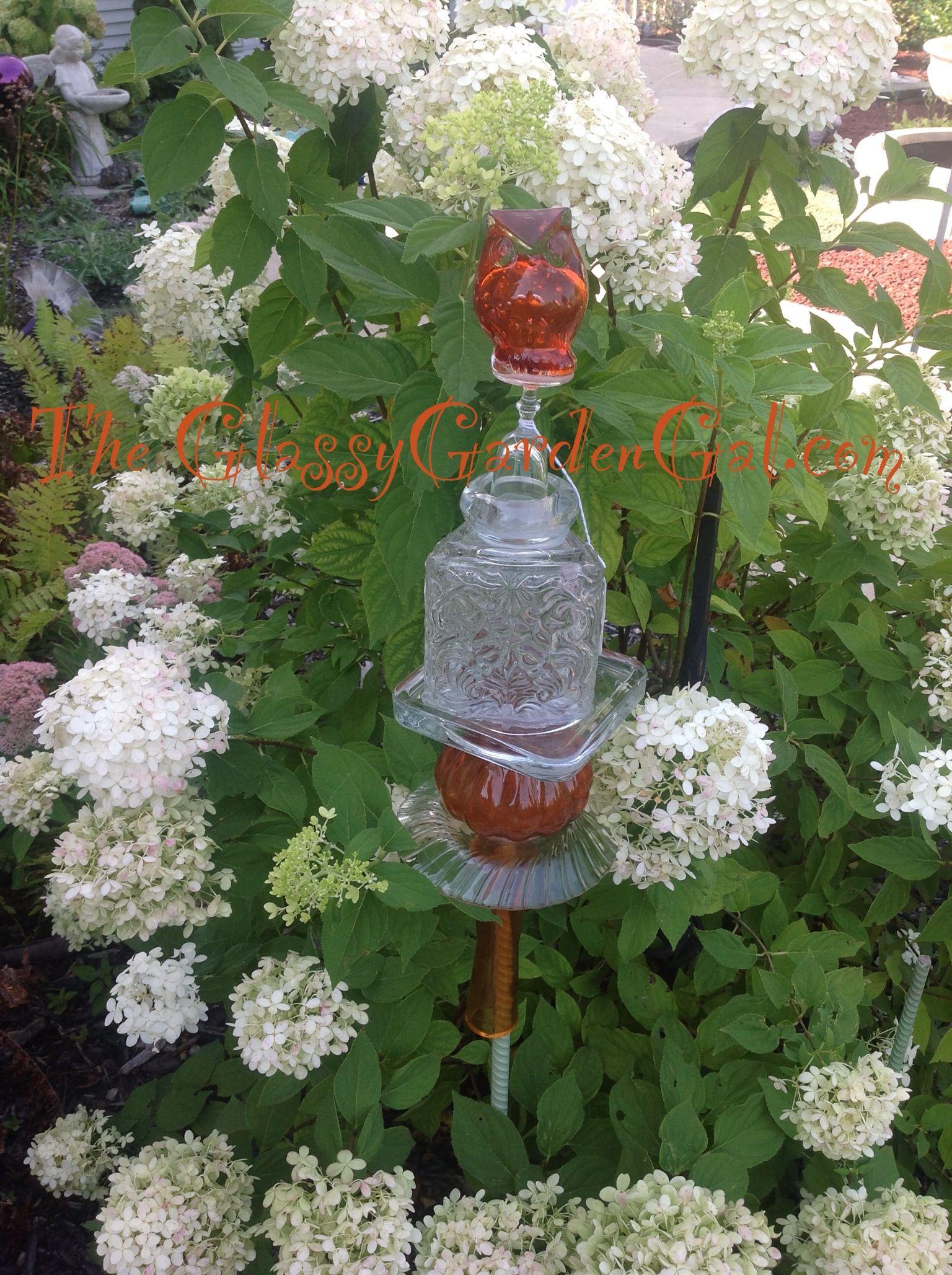 Garden Totem, Glass garden art, yard art, repurposed recycled up ...