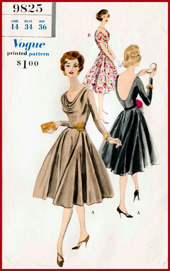 1950s 1960s vintage sewing pattern Mad Men evening cocktail LBD ...