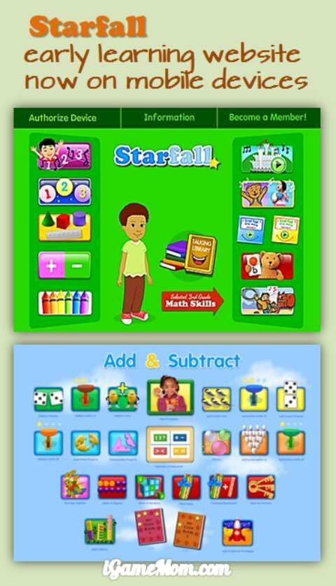 Free App Bring Starfall Website on iPad and iPhone