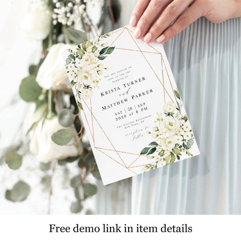 White Greenery Wedding Invitation Templates Instant Download Etsy Wedding Invitations Greenery Wedding Invitations Wedding Invitation Templates