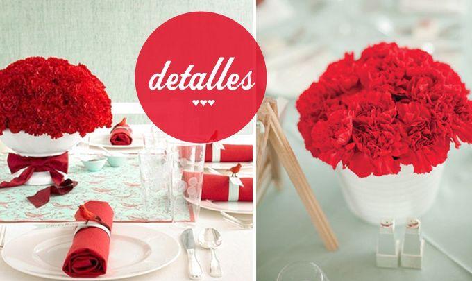 Detalles decoracion boda rojo y mint ideas para bodas for Detalles decoracion boda