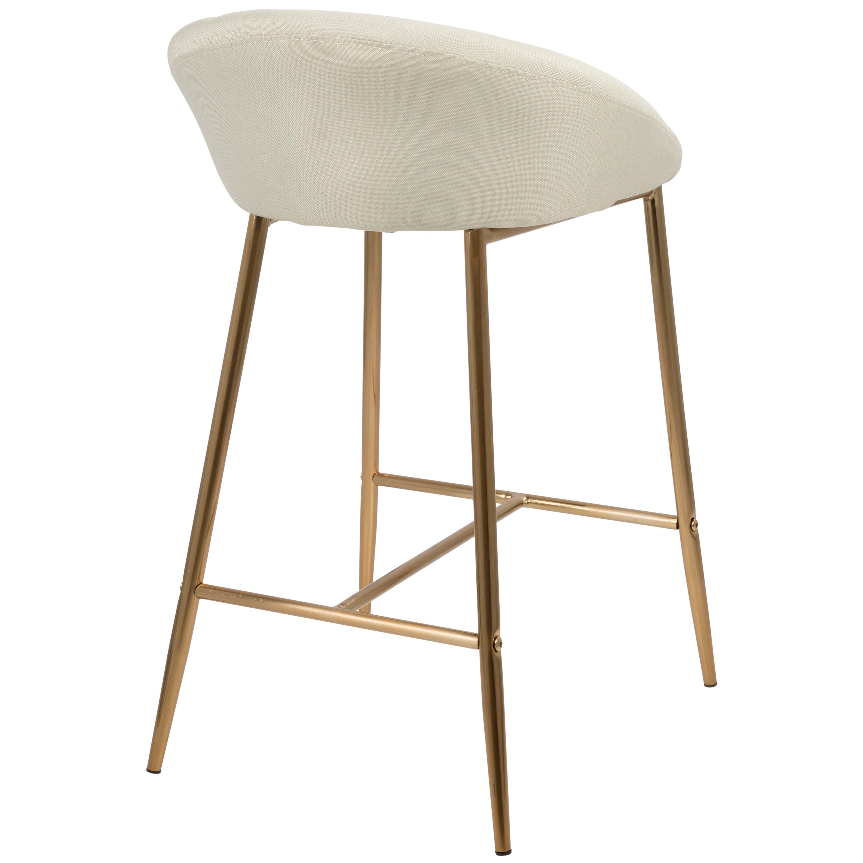 Contemporary Glam Cream And Gold 26 Inch Counter Height Stool Set