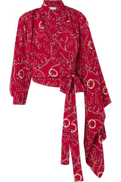 5b9fb96c1dc710 Balenciaga - Printed Silk-crepe Wrap Blouse - Red