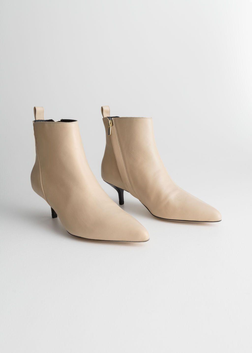 90dff6811aad3 Leather Kitten Heel Boots | Shoes | Beige ankle boots, Kitten heel ...