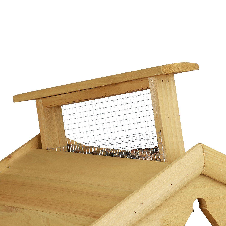 relaxdays vogelhaus mit ständer, aus holz, unbehandelt, stehend