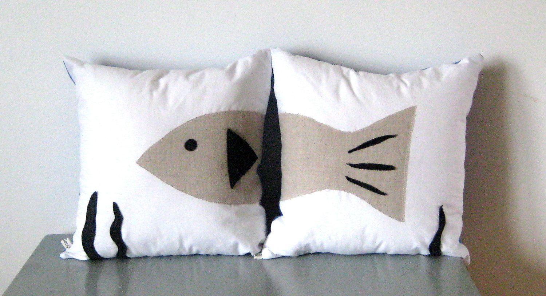 Throw Pillows Fish Boys Bedroom Decor Cabin White Blue Fun
