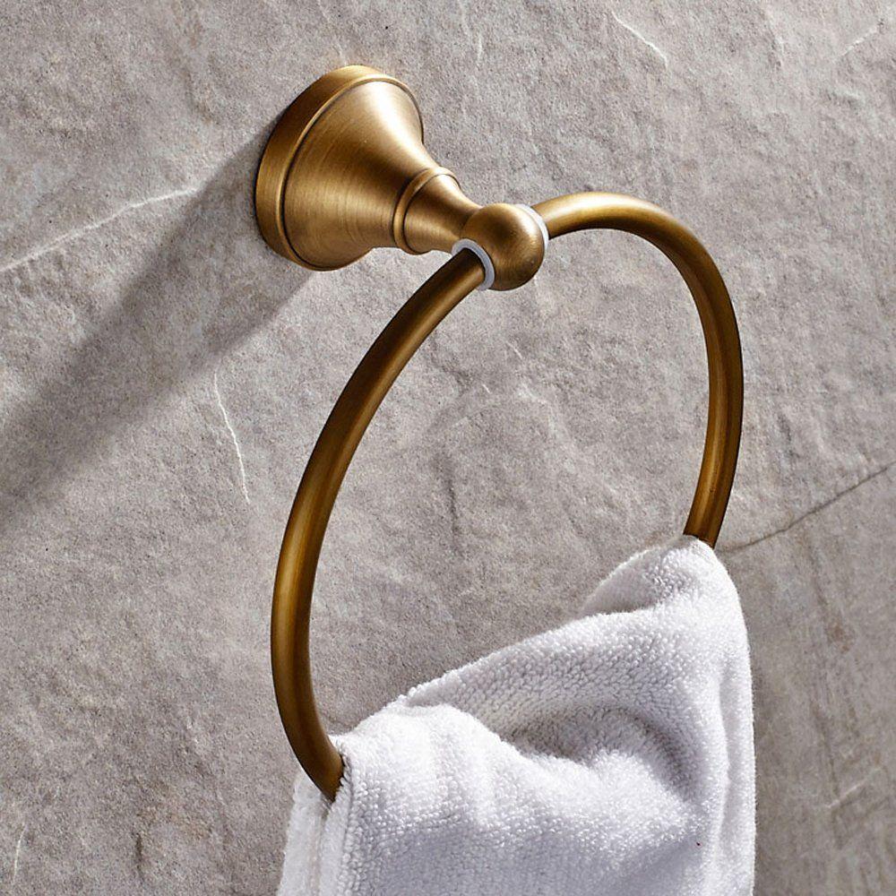 Leyden Antique Bathroom Accessories Brass Towel Ring Towel Rack ...