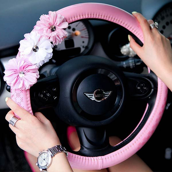 A very cute baby pink steering wheel cover for girls Dear girls