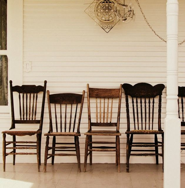 great idea. chairs side by side across the porch.   antique pressed back chairs farmhouse decor - KnickofTime.net