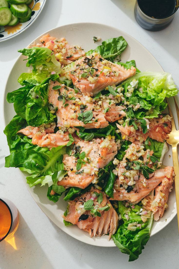 Salmon With Whole Lemon Dressing Recipe Recipe In 2020 Nyt Cooking Lemon Dressing Recipes Recipes