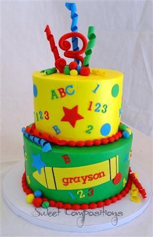Love the primary colors on this ABC 123 birthday cake Kids