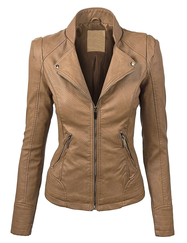 Made By Johnny Wjc821 Womens Perforated Faux Leather Jacket Xs Khaki At Amazon Women S Coats Shop Jaquetas Femininas Roupas Agasalho Esportivo