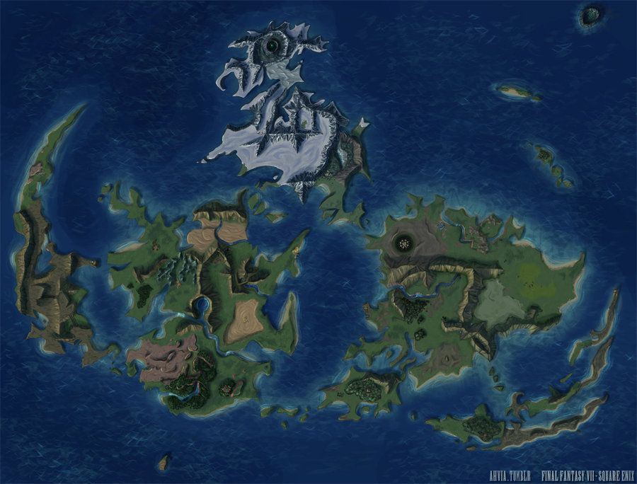 Final fantasy vii world map by ahviaiantart on deviantart final fantasy vii world map gumiabroncs Image collections