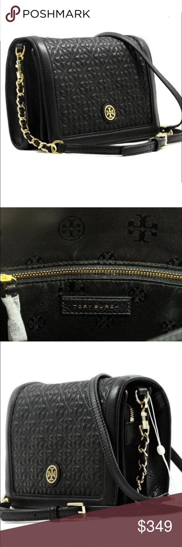 1ee14d26501 Authentic Tory Burch Bryant Black Cross Body Bag Authentic Beautiful Tory  Burch Bryant Quilted Leather Cross
