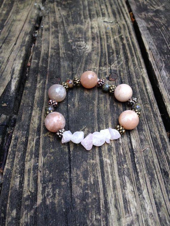 The PMS Bracelet Peach Moonstone by EmilysReikiBracelets on Etsy