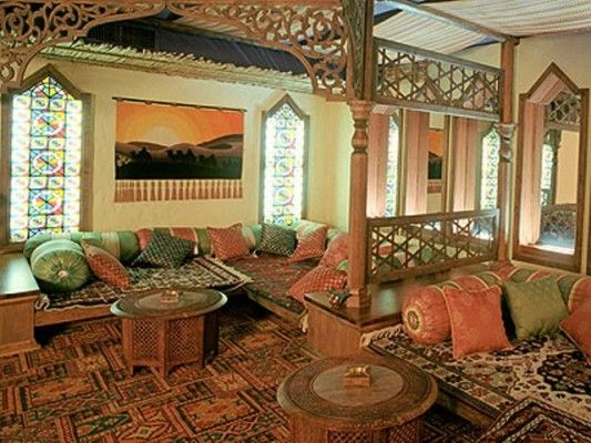 Arabian Living Room With Dark Wood Fireplace Middle East Decor Eastern Style Home
