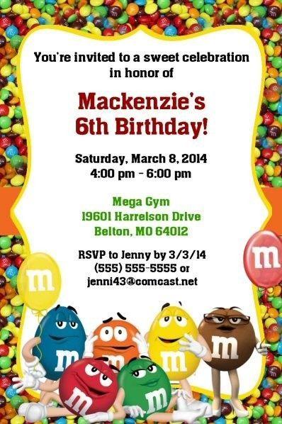 MM Birthday Invitations M Party Supplies Boy Girl