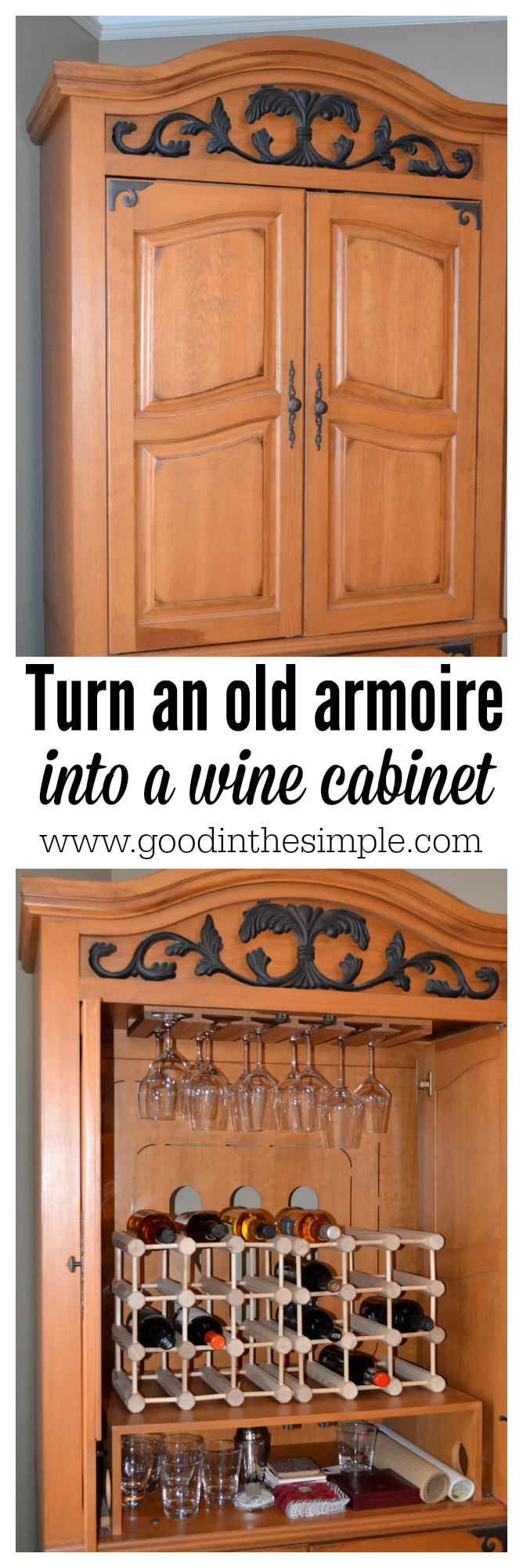 Turn A TV Armoire Into A Cabinet For Wine Bottles And Glasses