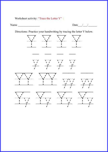 tracing letter y worksheet for kindergarten preschool pinterest tracing letters. Black Bedroom Furniture Sets. Home Design Ideas