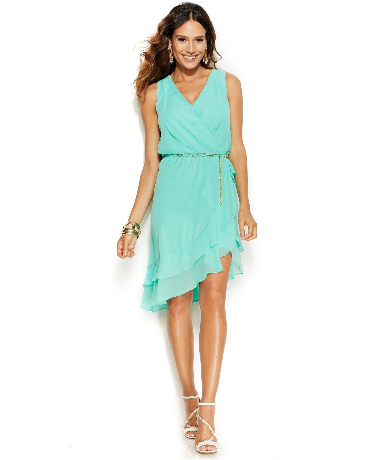 Thalia Sodi Ruffle-Hem Belted Faux-Wrap Dress - Dresses - Women ...