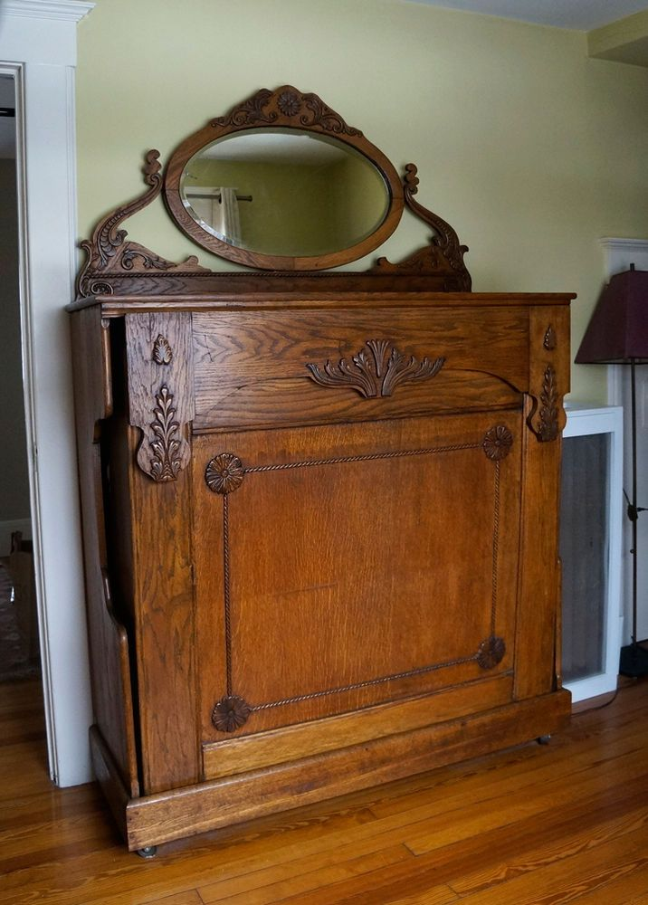 late 1800's vintage antique oak wood murphy bed w/ mirror great
