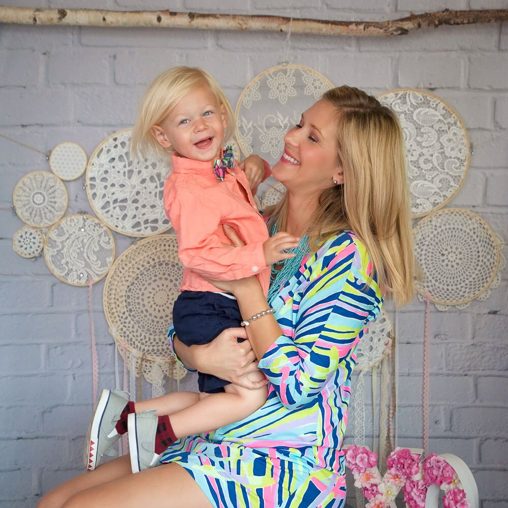Mothers Day Session with doily dream catcher backdrop. By